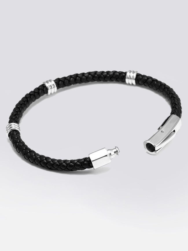 Genuine Leather Bracelet With 3 small 316L Steel Charms