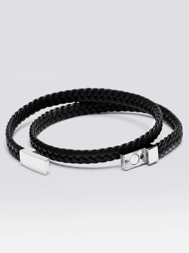 Geniune Flat Leather Bracelets With 316L Steel Magnetic Clasp