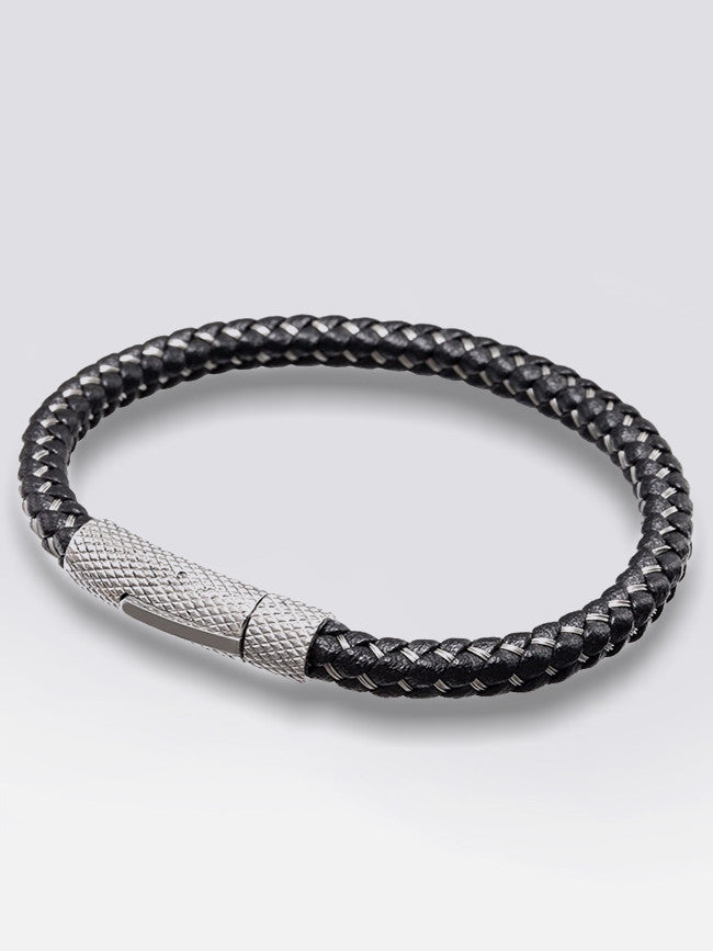 Genuine Leather Bracelet With 316L Steel Snap Clasp