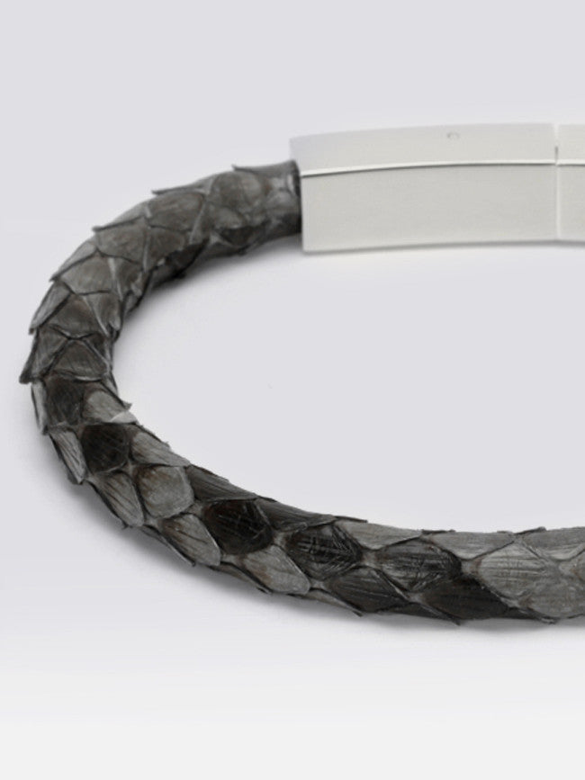 Genuine Grey Python Skin Bracelet With 316L Steel Snap Clasp