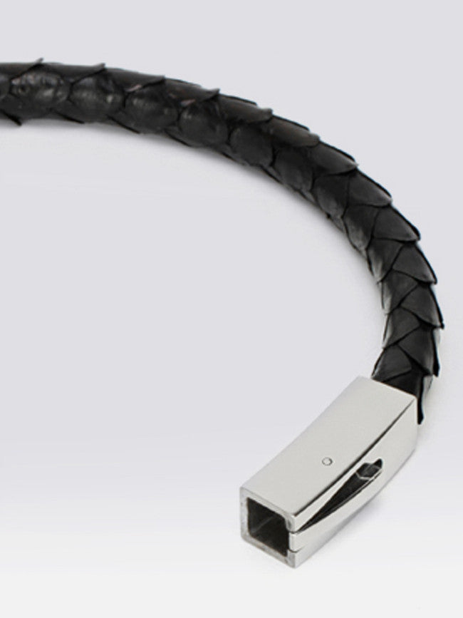 Genuine Black Python Skin Bracelet With 316L Steel Snap Clasp