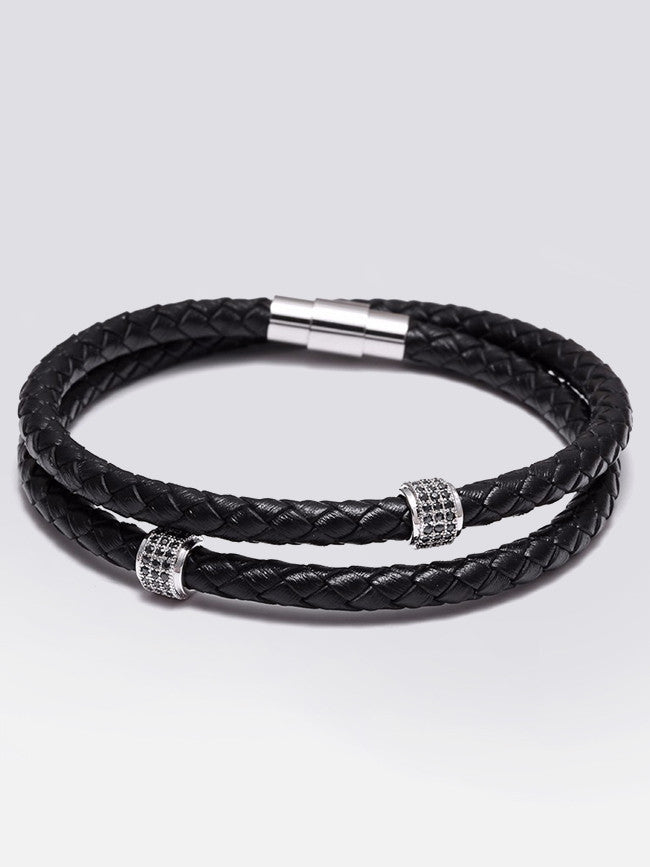 Double Wrap Genuine Leather Bracelet With Micro Pave Zircon Beads
