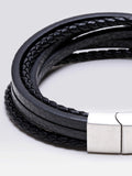 Multi-Layer Geniune Leather Bracelets With 316L Steel Magnetic Clasp