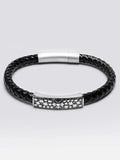 Geniune Leather Bracelets With 316L Cross Pattern Bead Steel Snap Clasp