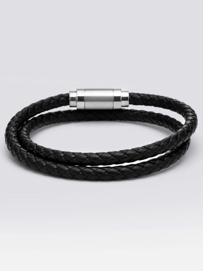Double Wrap Geniune Leather Bracelets With Steel Magnetic Clasp