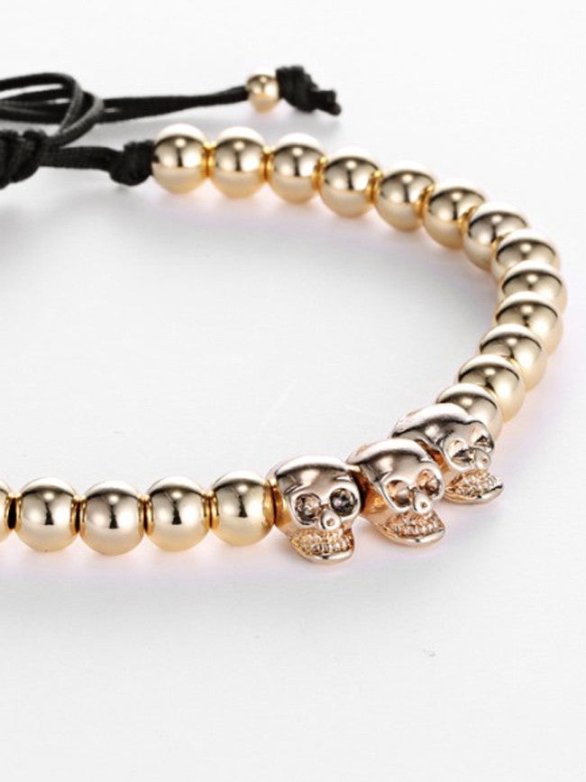 18K Gold ION Plated 3 Skull beads with 6mm Gold ION Plated Steel Beads Bracelet