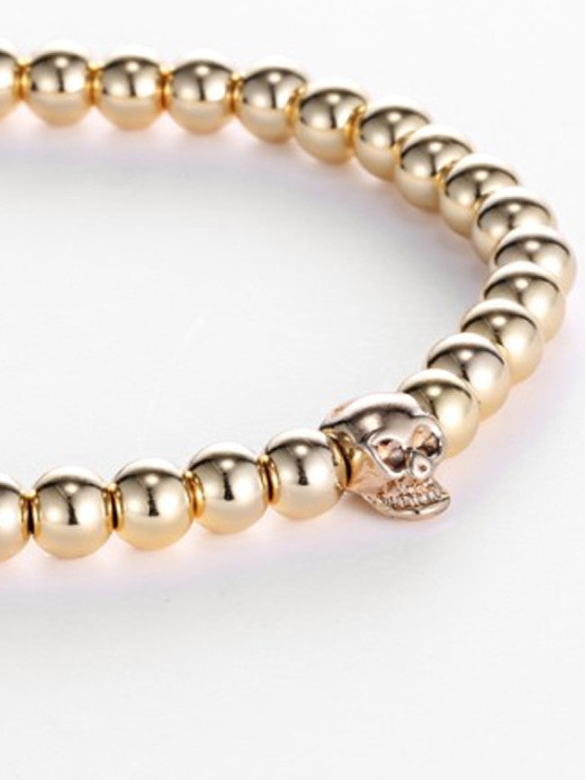 18K Gold ION Plated 1 Skull bead with 6mm Gold ION Plated Steel Beads Bracelet