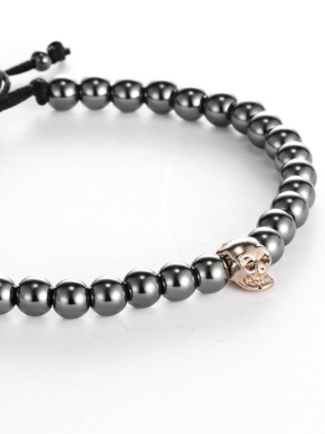 18K Gold ION Plated 1 Skull bead with 6mm Gun Black Steel Beads Bracelet