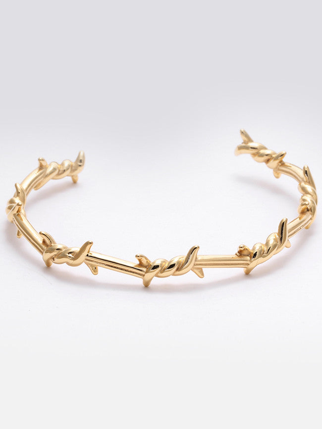 Twist thorns 18k Gold ION Plated Stainless Steel Bangle Cuff Open Bracelet