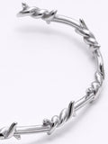 Twist Thorns Stainless Steel Adjustable Bangle Cuff Open GK Bracelet