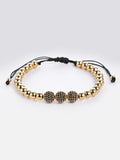 18k Gold ION Plated Micro Pave Black Zircons Bracelet