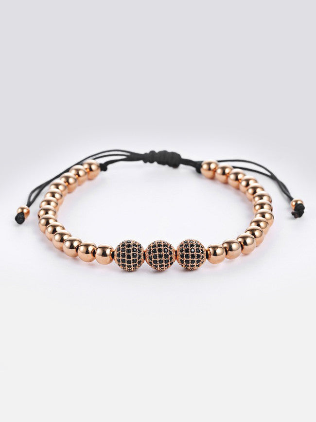 18k Rose-Gold ION Plated Micro Pave Black Zircons Bracelet