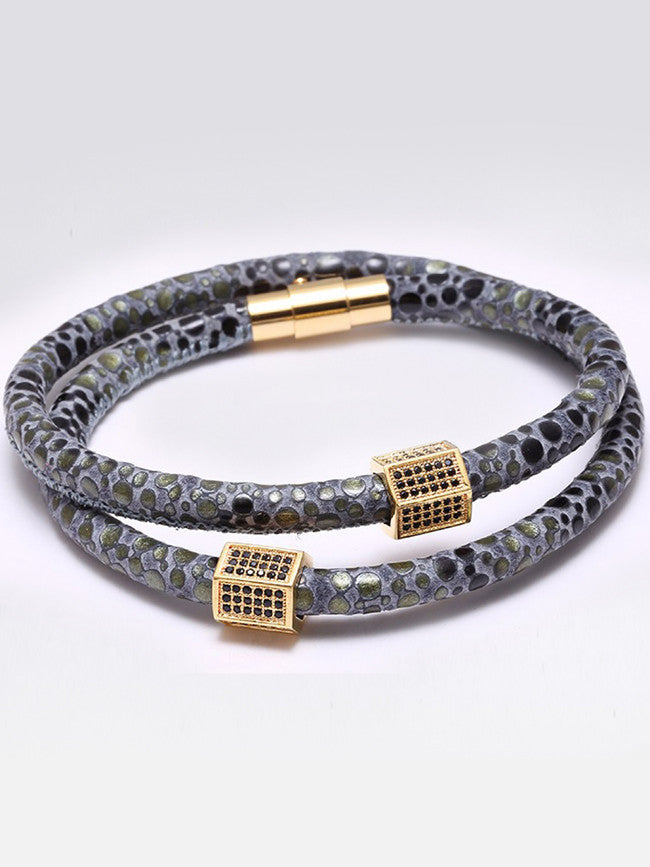 Genuine Gray Exotic Skin with Micro Black Zircons Paved Double Wrap Bracelet