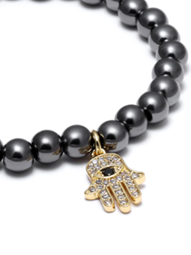 18K Gold ION Plated HAMSA- Evil's Eye Zircons Charm with 6mm Gun Black Steel Beads Bracelet