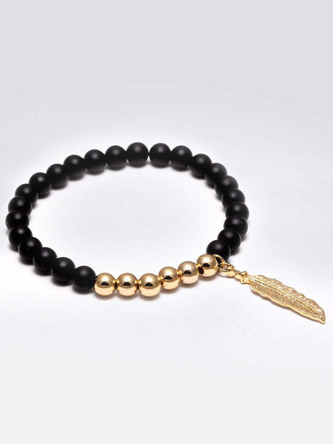 Black AGATE Crystal Stones with 18k Gold ION Plated 6mm Beads & Leaf Charm bracelet