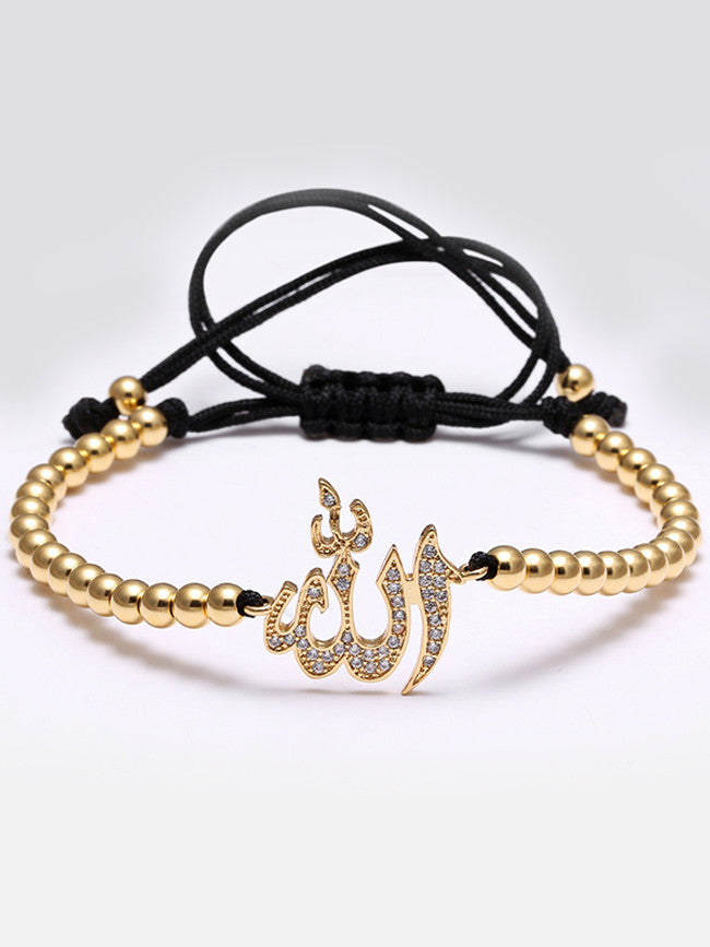 18k Gold Ion Plated 4mm Steel Beads with Micro Paved Allah Charm Bracelet
