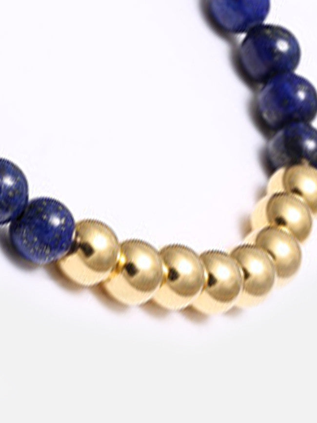 Nature Blue AGATE Crystal Stones with 18k Gold ION Plated 6mm bracelet