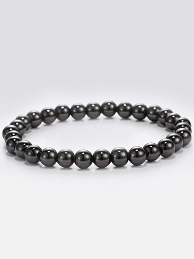 Elastic 6mm Gun Black ION Plated Stainless-Steel Beads Bracelets