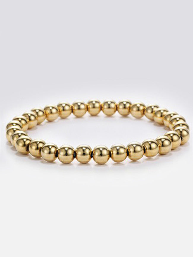 Elastic 6mm 18k Gold ION Plated Stainless-Steel Beads Bracelets