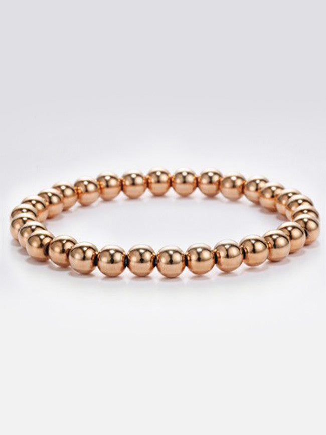 Elastic 6mm 18k Rose-Gold ION Plated Stainless-Steel Beads Bracelets