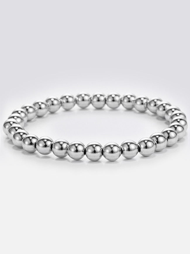 Elastic 6mm Stainless-Steel Beads Bracelets