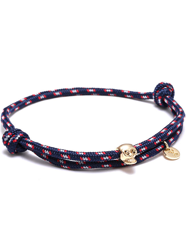 Blue/Red Rope 18k Gold Ion Plated Skull Charm bracelet