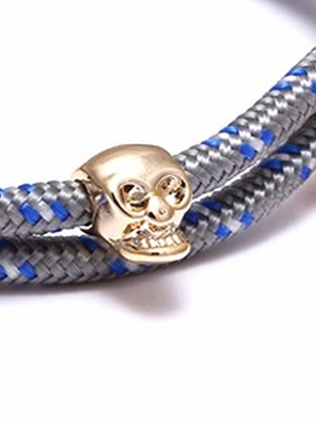 Gray/Blue Rope 18k Gold Ion Plated Skull Charm bracelet