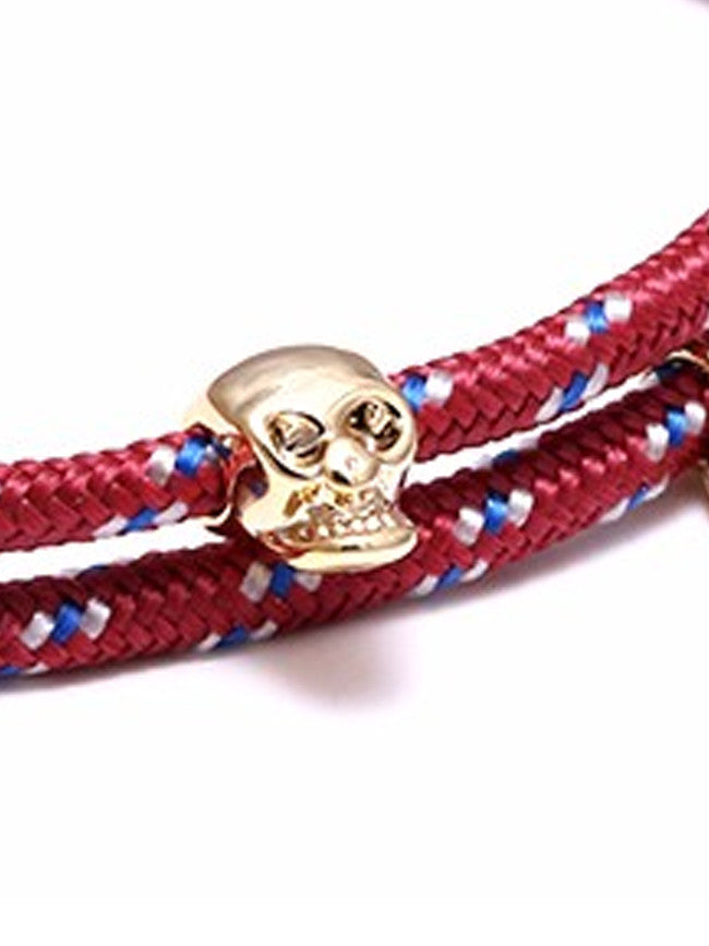 Burgundy/Blue Rope 18k Gold Ion Plated Skull Charm bracelet