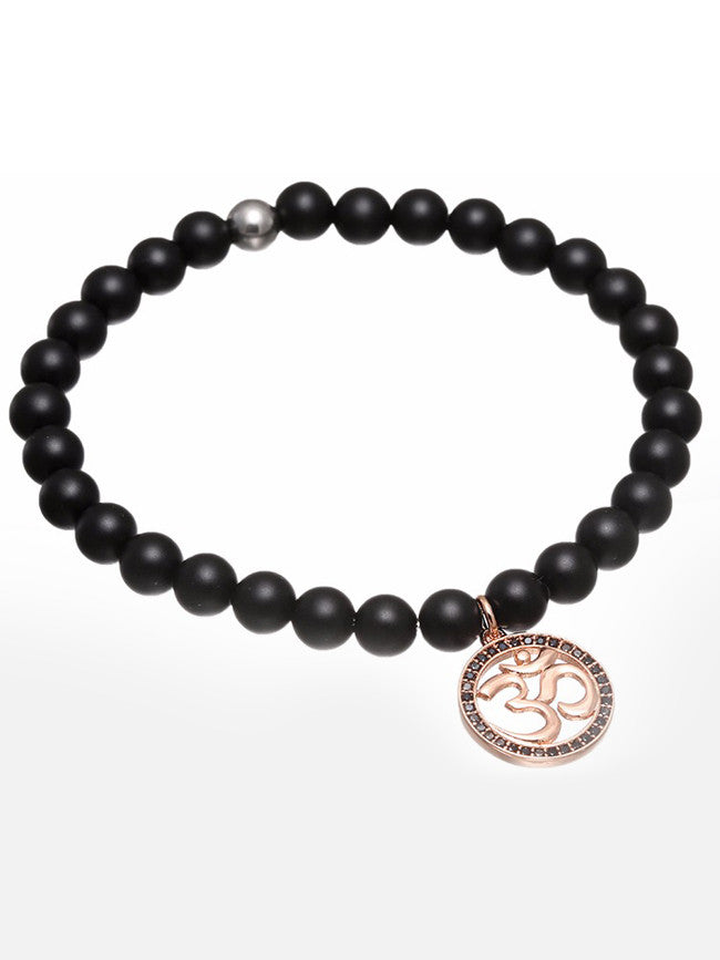 18K Rose-Gold Ion Plated Black Zircon Paved NAMASTE Charm with Agate Black Stone Beads Bracelet