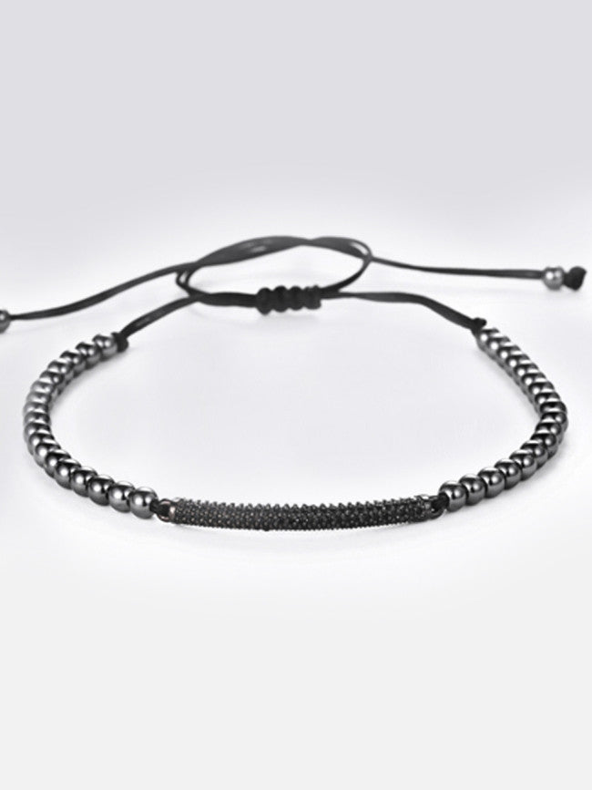 Zircon Bar 3.5cm with Gun Black ION Plated Steel beads Macrame Bracelet