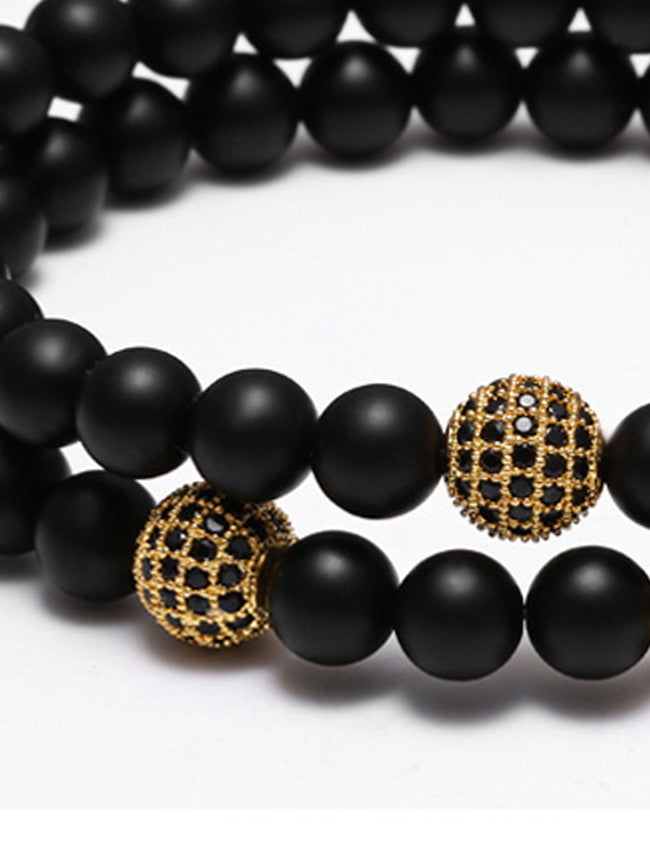 Black Agate Stone Beads with 18k Gold ION Plated 1 Zircon Paved Bead bracelet