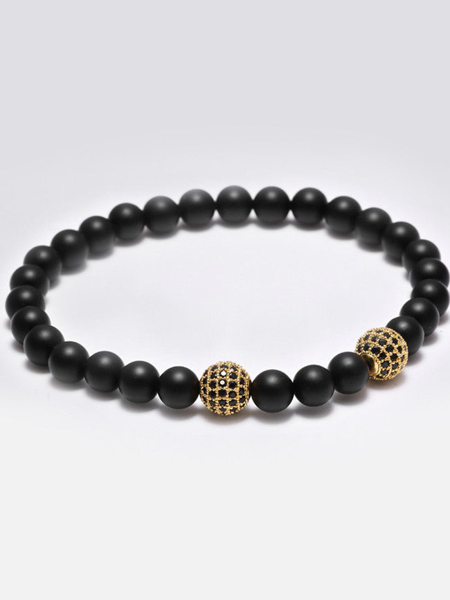 Black Agate Stone Beads with 18k Gold ION Plated 2 Zircon Paved Bead bracelet