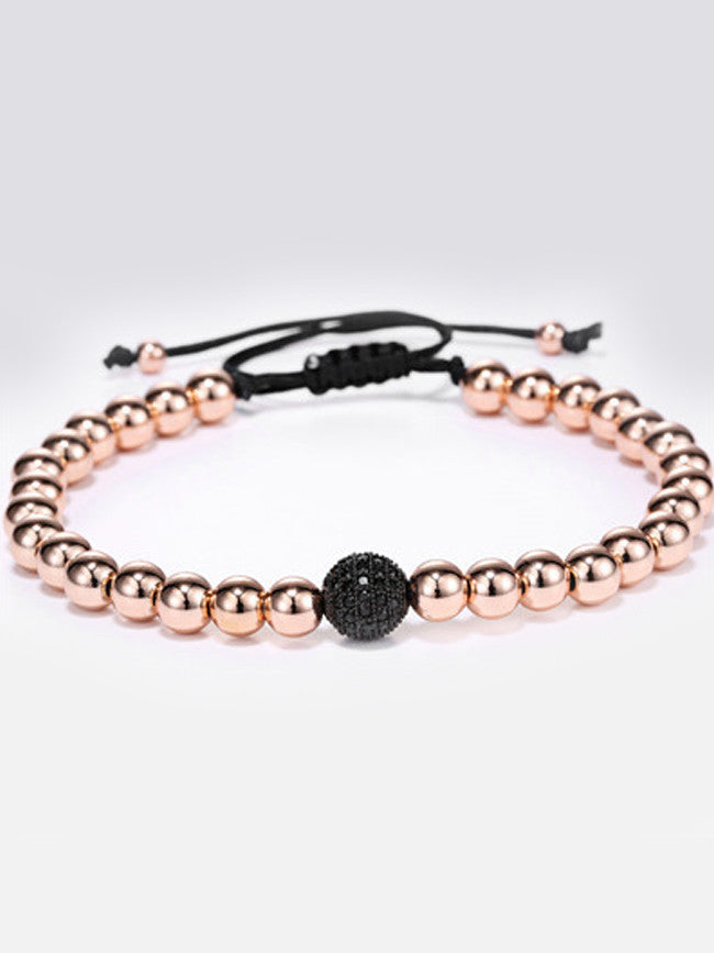 18k Rose-Gold ION Plated Micro Paved Black Zircons Bracelet
