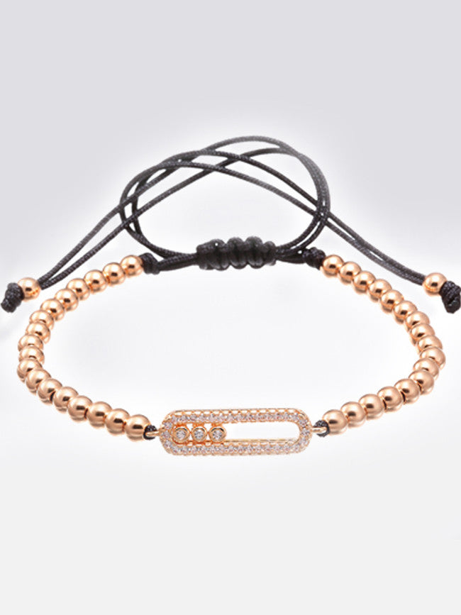 Paved 18k Rose-Gold ION Plated bar with 3 moving Zircons Bead Bracelet