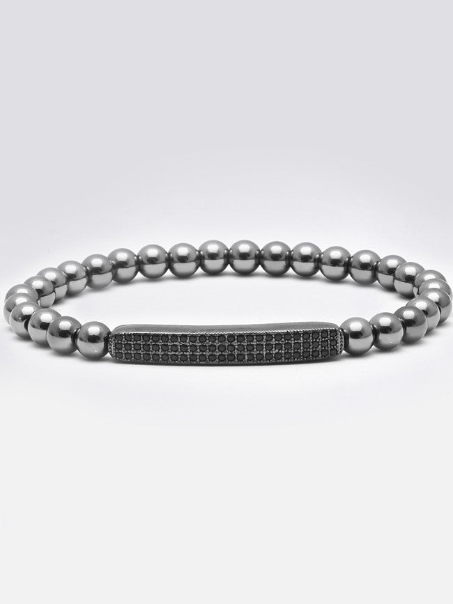 Micro Zircon Paved Bar 3.5cm with Gun Black ION Plated Steel beads Bracelet