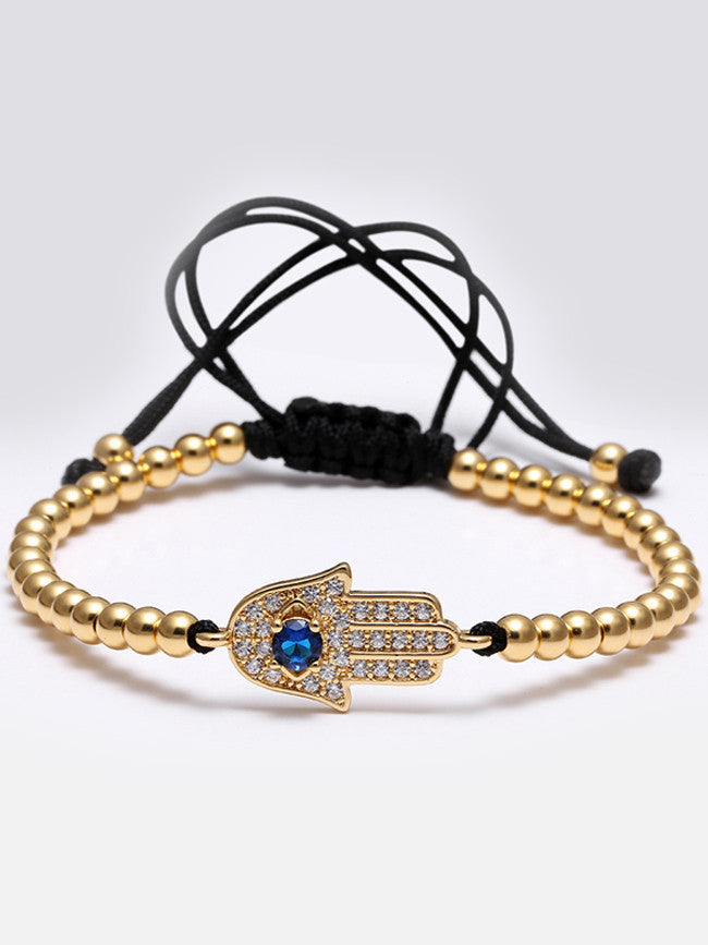 18K Gold ION Plated HAMSA- Evil's Eye Zircons Motif with 4mm 18K Gold ION Plated Beads Bracelet
