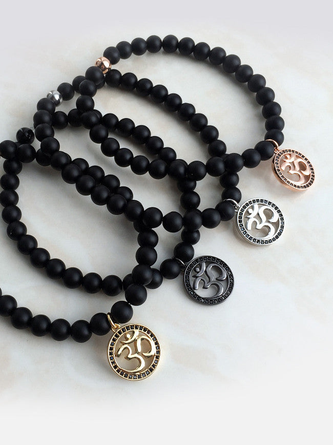 Gun Black Ion Plated Black Zircon Paved NAMASTE Charm with Agate Black Stone Beads Bracelet