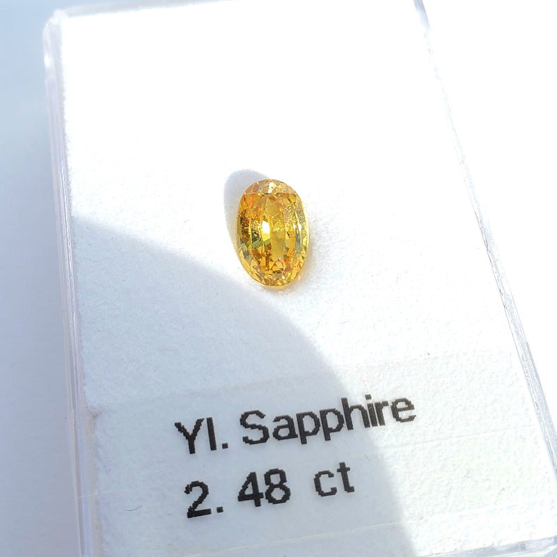 Fancy Color Yellow Sapphire Oval Cut 2.48ct - Gemorex International Inc