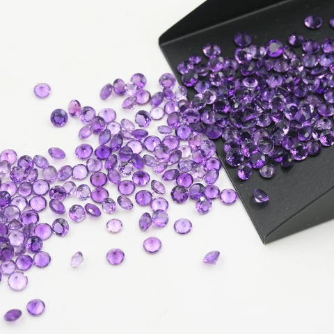 Amethyst Round Brilliant Cut Calibrated (MULTIPLE SIZES) - Gemorex International Inc