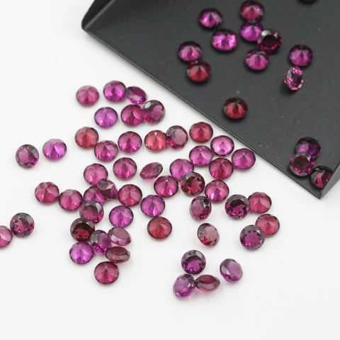 Rhodolite Garnet Round Brilliant Cut Calibrated (MULTIPLE SIZES) - Gemorex International Inc