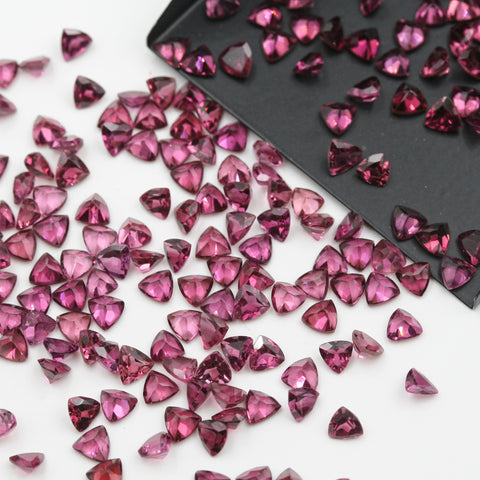 Rhodolite Garnet Trilliant Brilliant Cut Calibrated (MULTIPLE SIZES) - Gemorex International Inc