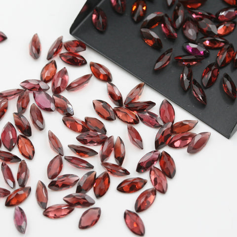 Red Garnet Marquise Brilliant Cut Calibrated (MULTIPLE SIZES) - Gemorex International Inc