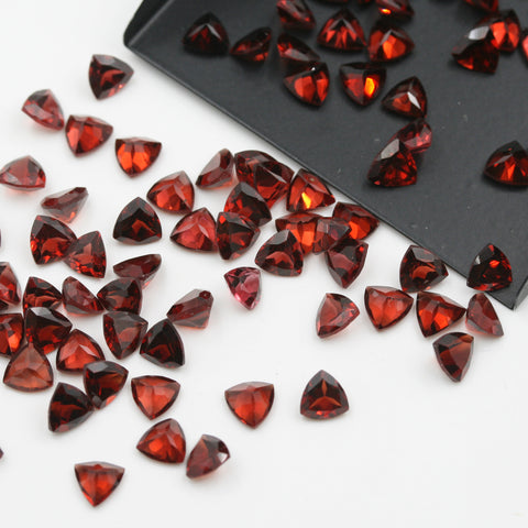 Red Garnet Trilliant Brilliant Cut Calibrated (MULTIPLE SIZES) - Gemorex International Inc