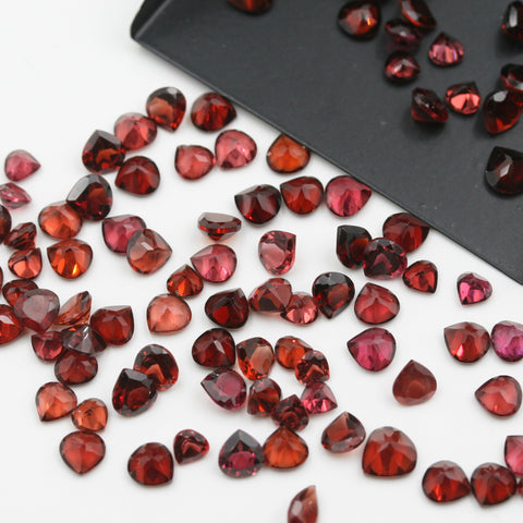 Red Garnet Heart Brilliant Cut Calibrated (MULTIPLE SIZES) - Gemorex International Inc