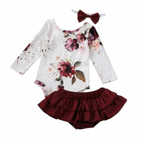 Leticia Floral Bodysuit + Ruffle Skirt 3pcs Set