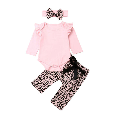 Tanya Ruffle Bodysuit + Leopard Pants 3pcs Set