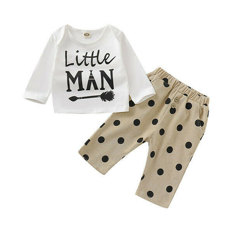 Little Man Top + Polka Pants