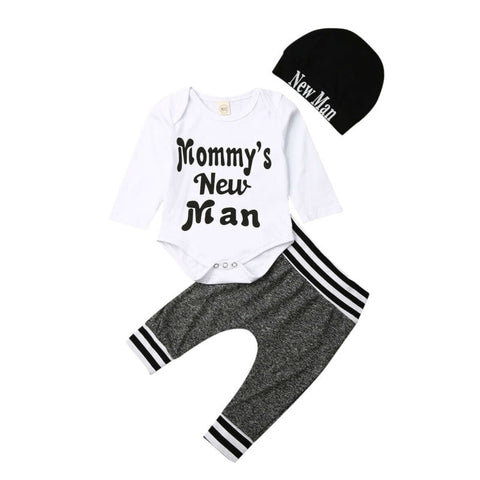 Mommy's New Man Bodysuit + Pants 3pcs Set