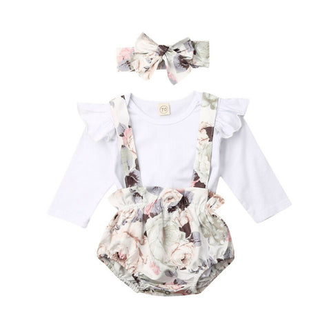Deanna Ruffle Bodysuit + Floral Overall Shorts 3pcs Set