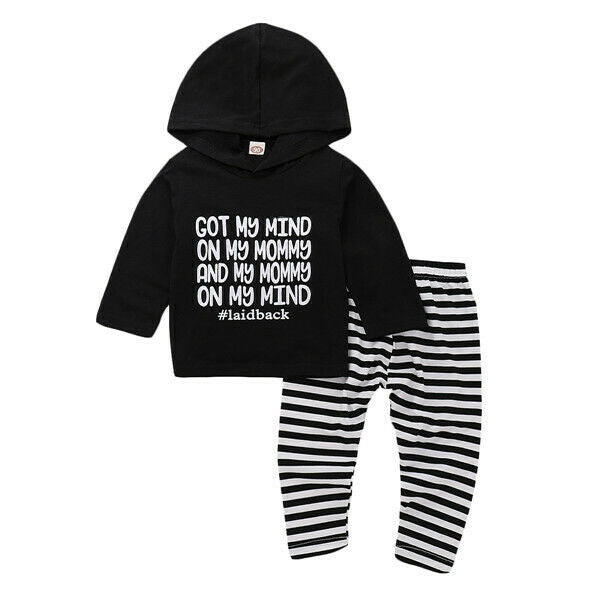 Mind On My Mommy Hoodie + Striped Pants